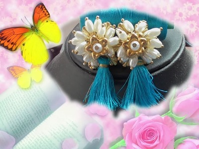 DIY Special silk thread tassel earrings#Making of silkthread tassel studs.Home tutorials