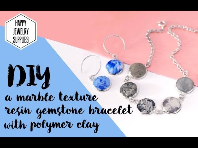 DIY Tutorial - How to make a marble texture resin gemstone bracelet with polymer clay!