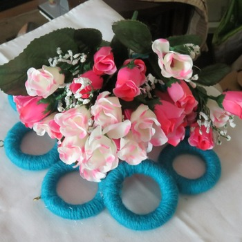 FLowers  blue  peach  white  wool  wooden curtain rings