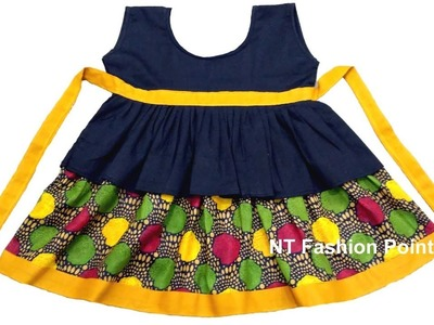 How to learn kid's summer cotton new born baby simple frock DIY