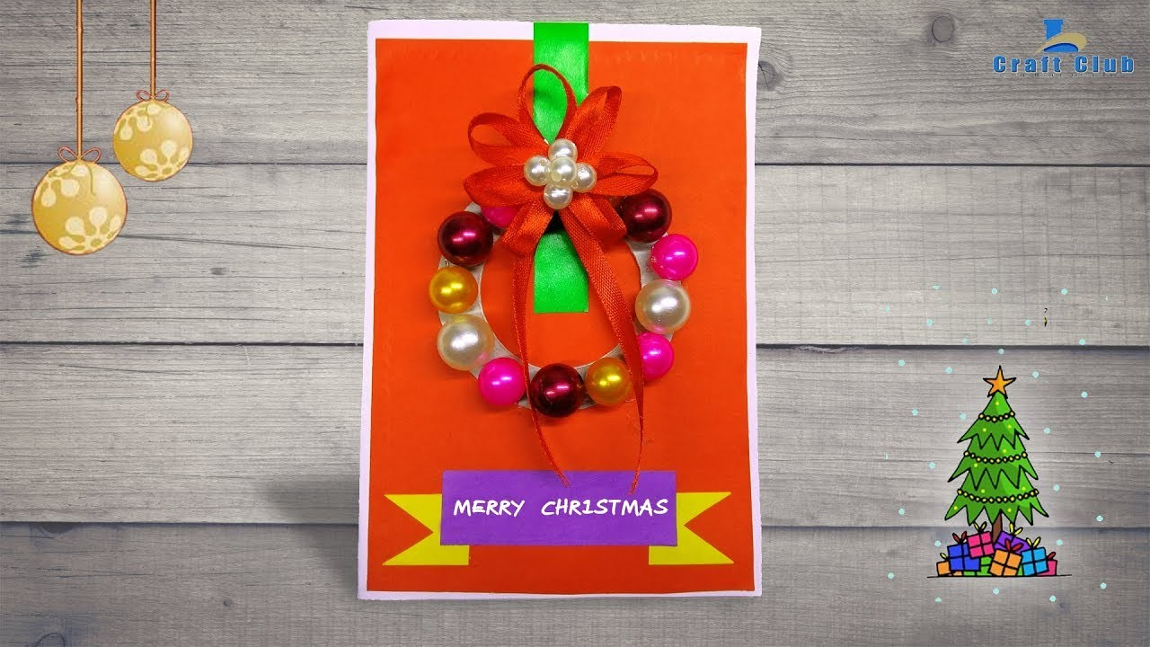 How To Make A Beautiful Christmas Card With A Wreath   DIY Crafts Tutorial   Lina's Craft Club