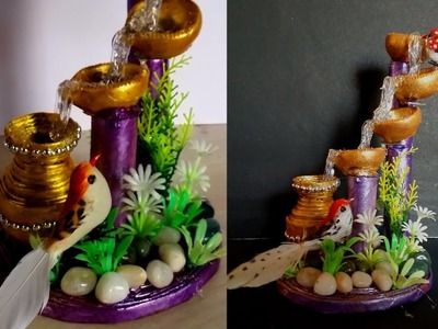 How to make artificial  waterfall showpiece with waste meterials | Hot glue Waterfall