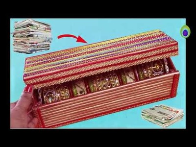 How to make bangle box from old recycled newspaper I Best out of waste