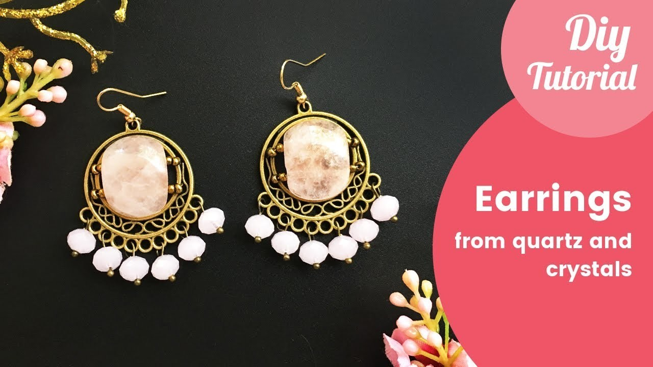 How to Make Earrings from Rose Quartz and Crystals. DIY Jewelry Tutorial