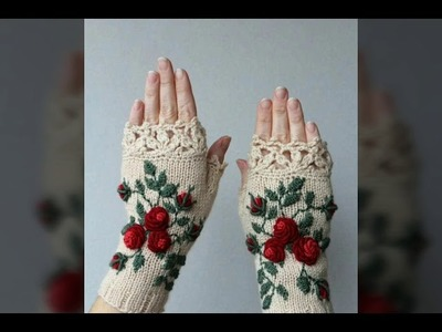 Most beautiful ladies crochet hand gloves design collection 2017