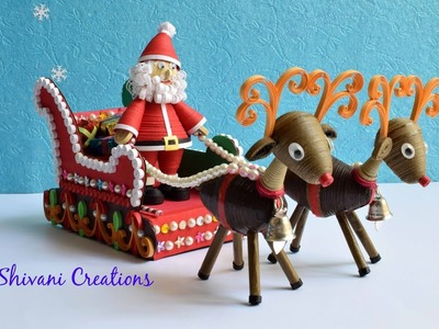 Quilled Santa Claus Sleigh Cart. 3D Quilled Christmas Show Piece