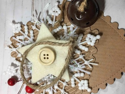 Rustic Christmas Ornament 2017 ????- Scalloped Heart with snow flake Ornament DIY