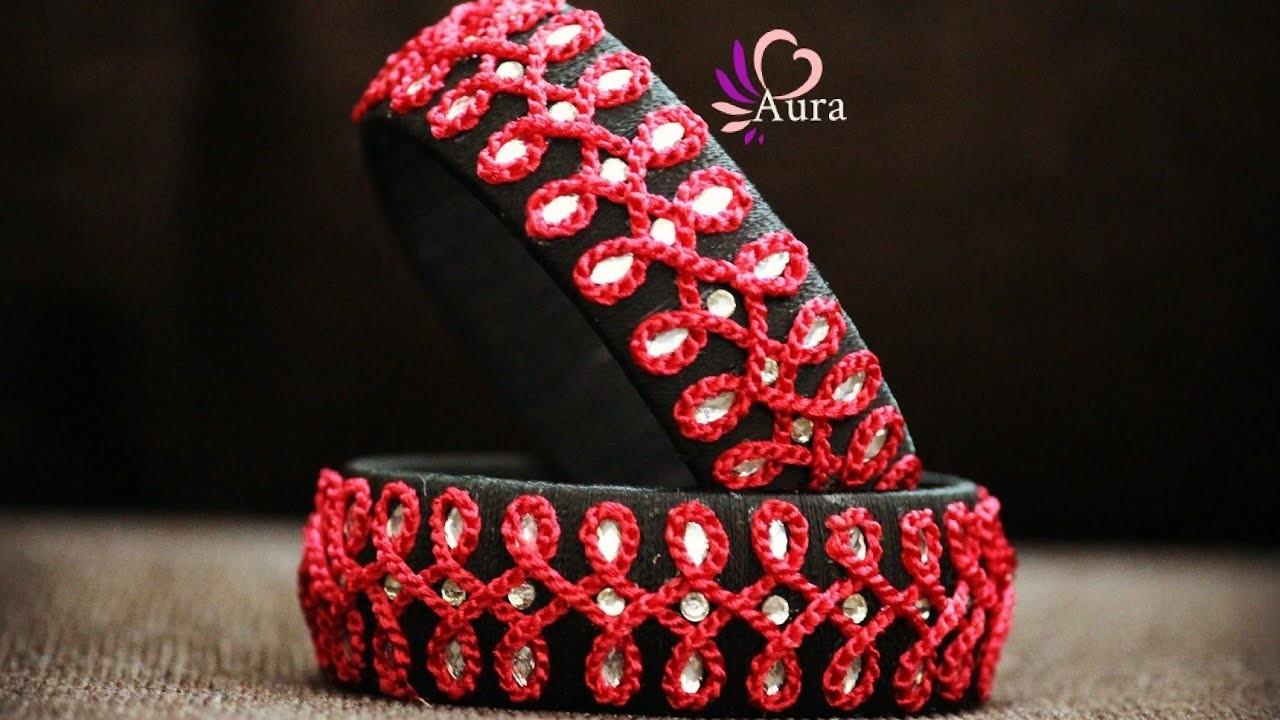 Silk thread Crochet Designer bangle Tutorial