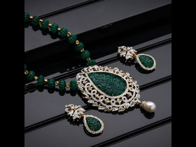 South Indian Ruby Emerald Beads Necklace Sets