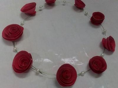 SUPER EASY TIARA | HANDMADE PAPER FLOWER TIARA| DIY | ROSE FLOWER TIARA FROM PAPER