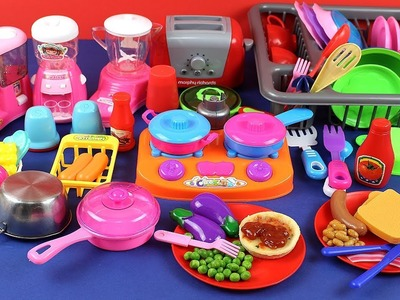 Toy Kitchen Velcro Fruits Vegetables Pretend Cooking Breakfast Egg Bread Beans Pizza Juice Toys ASMR
