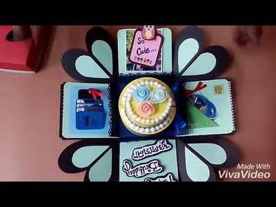 Birthday themed explosion box with cake and chocolate | Crazy Craft