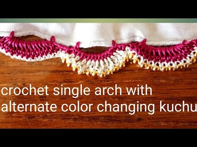 Crochet double arch saree kuchu. Saree tassel with alternate color changing pattern by Nidhi fashion