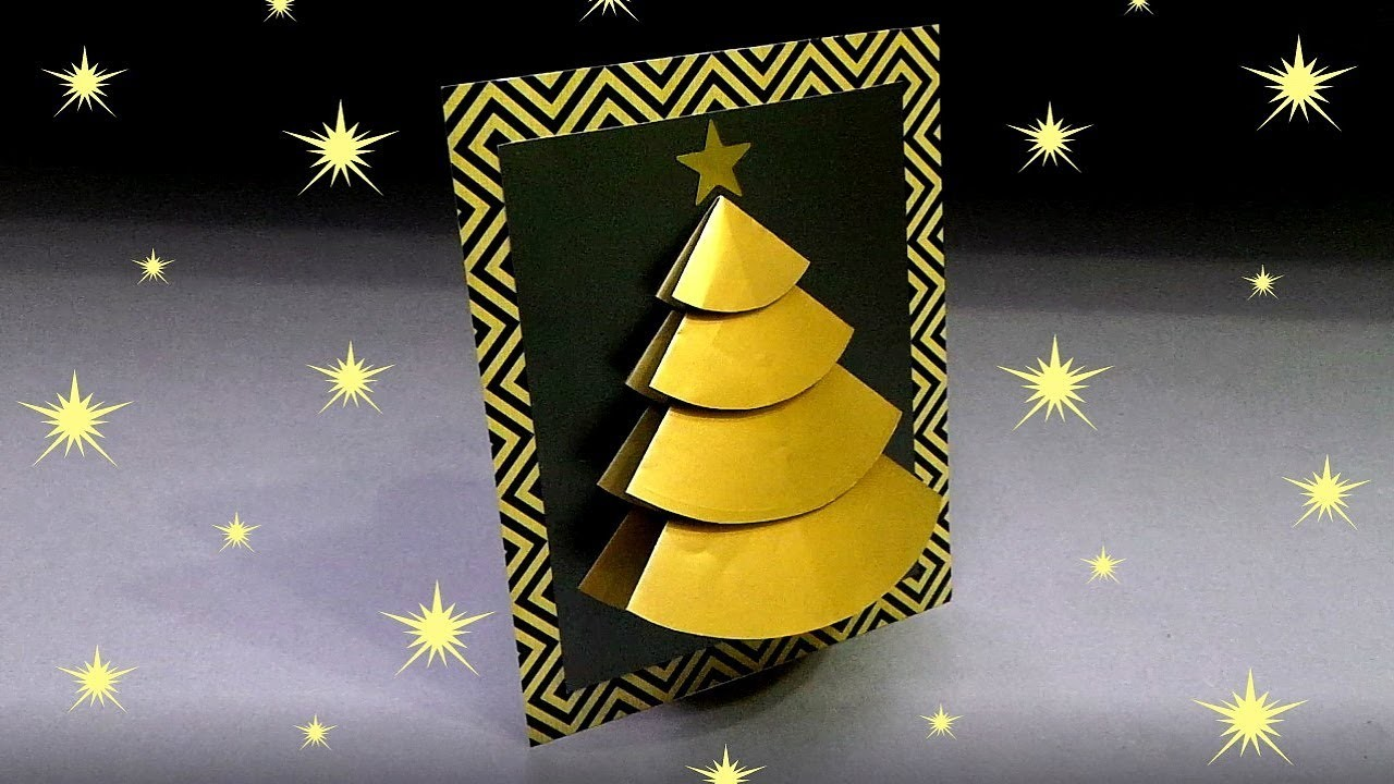 origami diy 3d christmas tree card very easy how to
