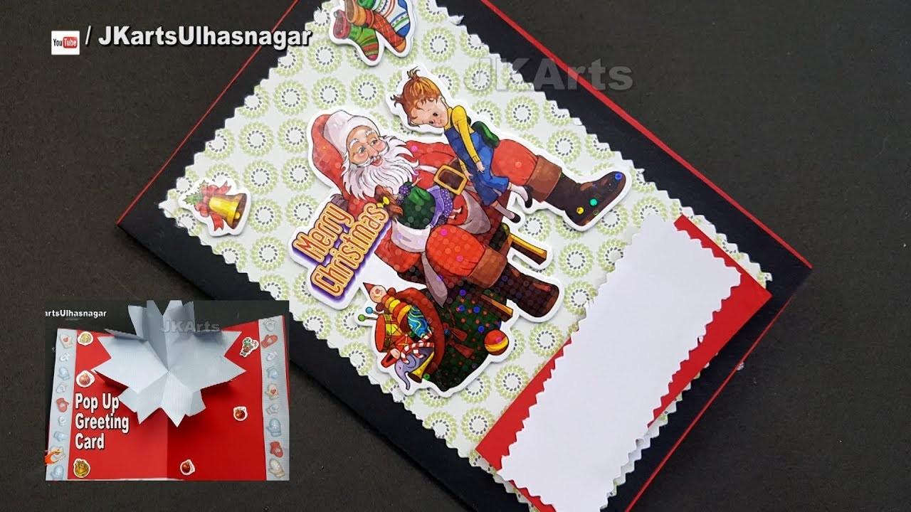 DIY How to make Chiristmas Snowflakes Pop Up Greeting Card   JK Arts 1316