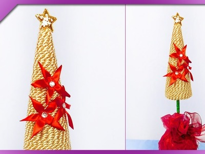 DIY How to make Christmas tree out of cord and kanzashi flowers (ENG Subtitles) - Speed up #426