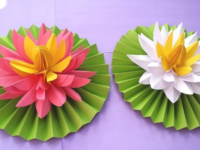 DIY How to Make Most Beautiful Lotus. Water Lily With Paper!!!