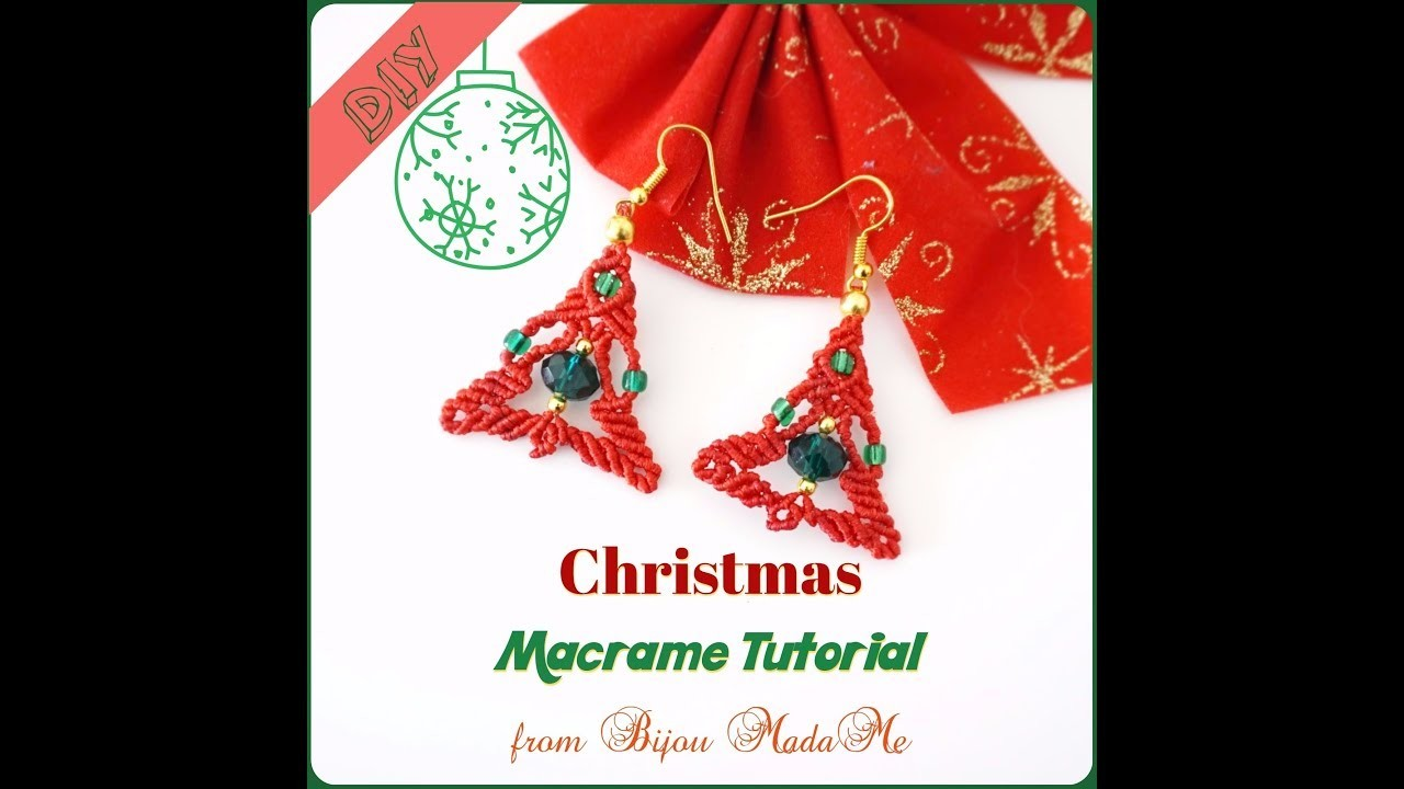 DIY macrame jewelry. How to make red Christmas tree earrings with beads.