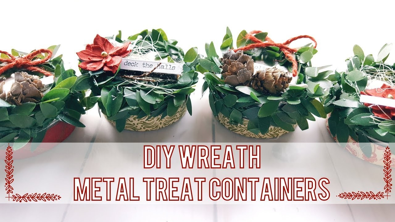 DIY Mini Wreath Tin Can Containers | Steppin' Up Dollar Tree Products
