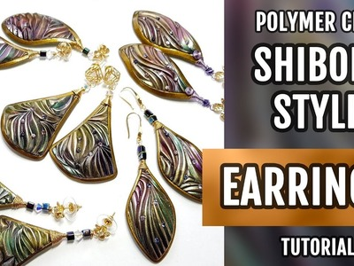 DIY Shibori Style Earrings from polymer clay in one oven baking!