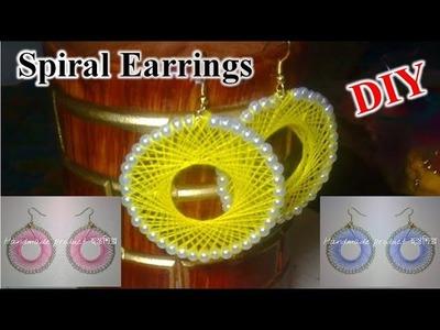 DIY - Spiral earrings || How to make Spiral thread earrings - AH Tube