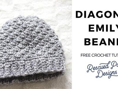 How Make the Emily Diagonal Crochet Beanie Band and SPHDC