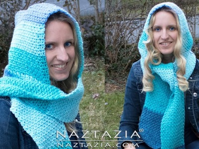 How to Crochet Chilly Day Hooded Scarf - DIY Tutorial Easy Moss Stitch Hoodie Scoodie