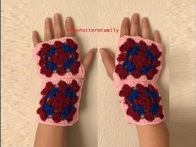 How to Crochet Granny Stitch Fingerless Gloves Pattern #179│by ThePatternfamily
