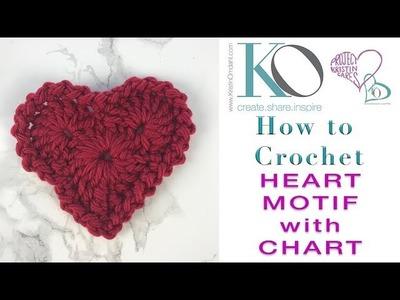 How to Crochet Heart Shaped Motif SLOWER for BEGINNERS Easy Basic Project Read Crochet Chart