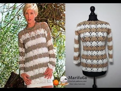 How to crochet lace pullover sweater jumper  free easy pattern tutorial for begginer