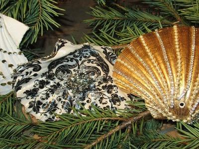 How to decoupage sea shells diamonds and pearls