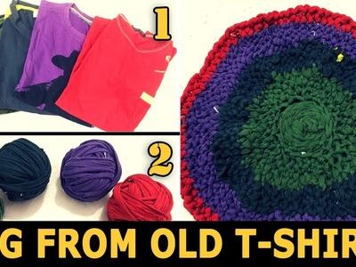 How to Make a Rag Rug using Old T-Shirts | Crochet Rag Rug Tutorial