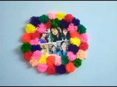 How to make beautiful photo frame with woollen threads !