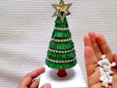 How to make easy paper Christmas tree in 10 min. DIY tabletop Christmas tree.