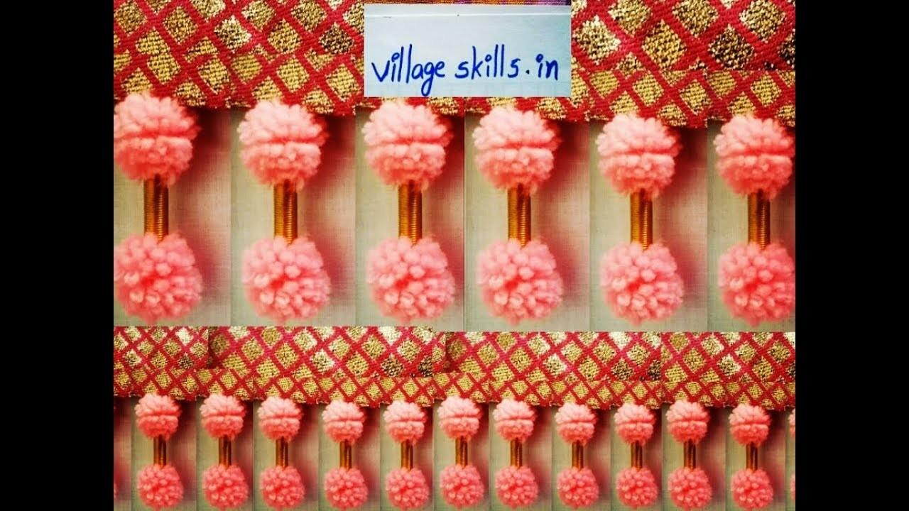 How to make easy  pom pom saree tassels , saree kuchu design # 37 ,how to make saree kuchu. tassels