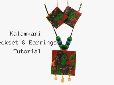 How to make Kalamkari Neckset and earrings|Easy tutorial fabric Neckset and earrings