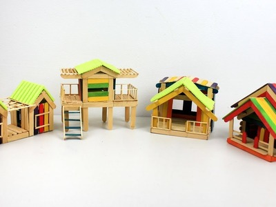 How to make Popsicle Stick Houses Collection #2 - Easy and Quick Craft ideas
