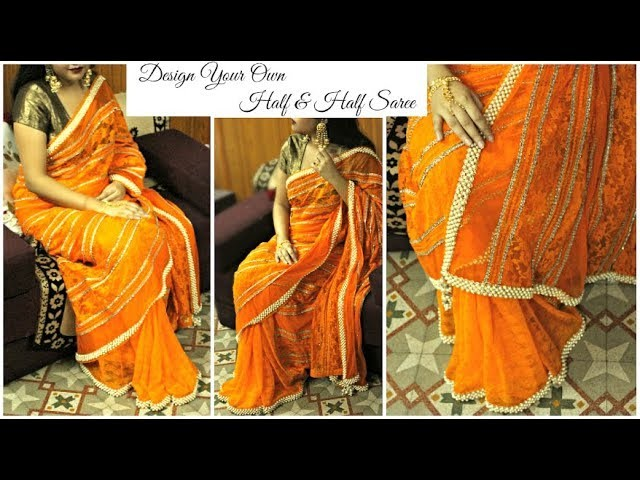 How to make your own half & half saree at home with Pearl border | DIY Designer Net Saree