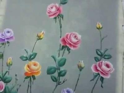 How to painting Rose Leaf Design, melukis daun bunga mawar rangkain design baju longdress wanita