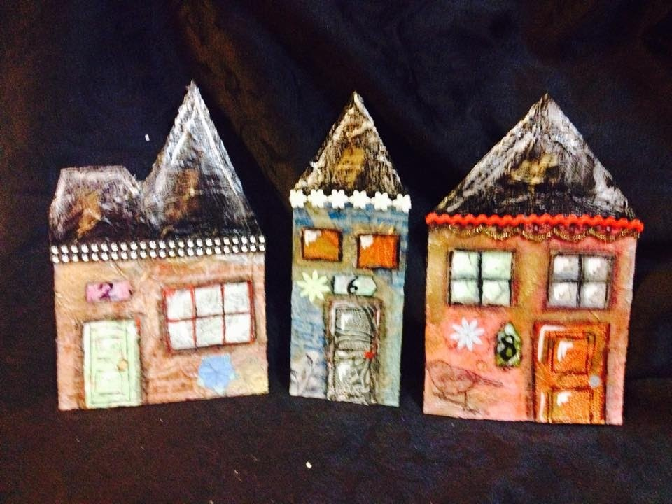 Part 1 making houses out of cardboard mixed media