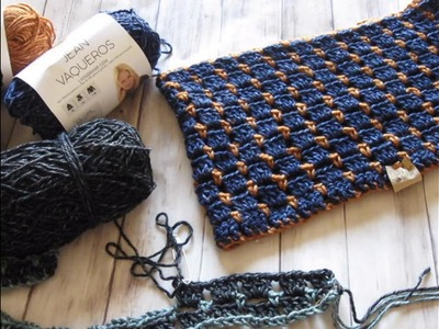 "Pine Notes ~ Review on Jeans Yarn~New pattern ""On the Go Cowl"""