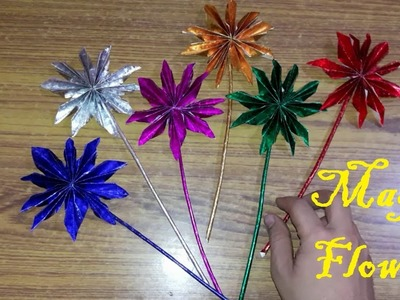 Shiny Paper Magic Flower making DIY #Art Expose With Raj