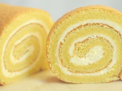 Swiss Roll Cake.Vanilla swiss roll cake.Basic swiss roll cake.