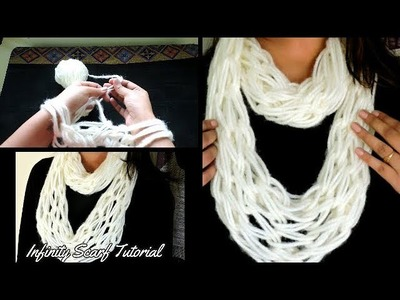 Arm knitting - Infinity Scarf in 30 Minutes || DIY Scarf ||