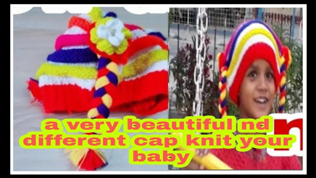 Cap knitting.hat circular needls cap. baby cap. in hindi