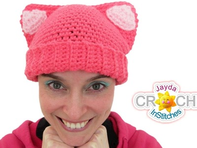 Cat Ears Hat Crochet Tutorial - for Adults & Kids!