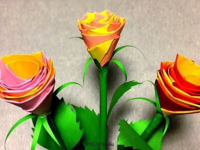 DIY Rose paper flower- How to make origami rose flower easy- Paper crafts