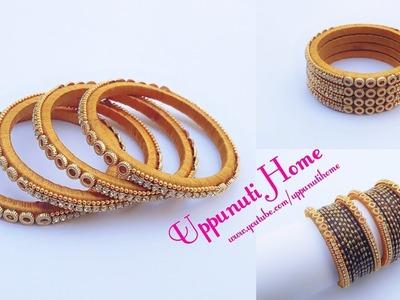 How Make Silk Thread Designer Thin Side Bangles   DIY   Fancy Side Bangles   Uppunutihome
