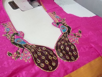 How To Cut and Stitch Embroidery Designs in Blouse Back Neck - Front and Back Shoulder Joint