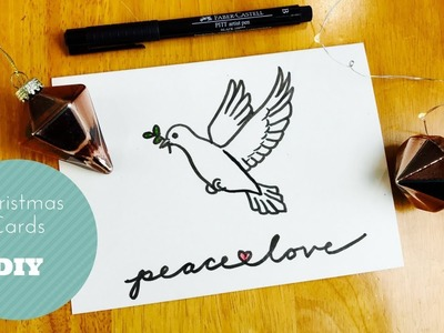 How to draw a handmade Christmas card with a peace dove